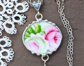 Necklace, Broken China Jewelry, Broken China Necklace, Oval Pendant, Pink and White Roses, Sterling Silver, Soldered Jewelry