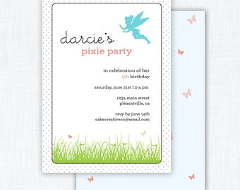 "Fairy Party Invitation Printable ""Pixie Party"""