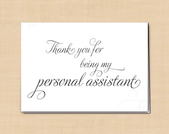 Thank You for Being My Personal Assistant Printable Wedding Card, Simply Elegant: 5 x 3.5 - Instant Download