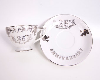 Vintage 25th Anniversary Teacup Saucer Lefton Tea Cup Silver Anniversary Made in Japan