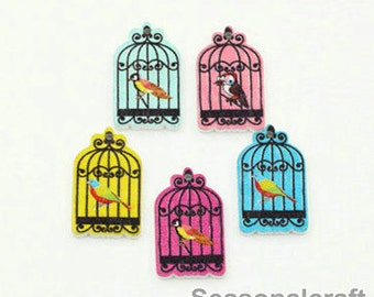 Colorful Wooden Bottons Set, 17x30mm,Wooden Birdcage Shape -(5 in a set) (T186)
