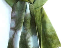 Clamp Dyed Rayon  Challis Scarf in Sage, Olive Green