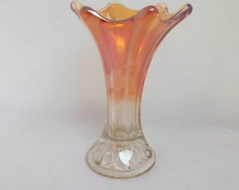 Small Carnival Glass Morning Glory Vase Marigold Iridescent to Clear Flower Vase