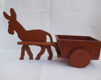 Wood Donkey with Cart Handmade Wooden Mule Pulling Wagon