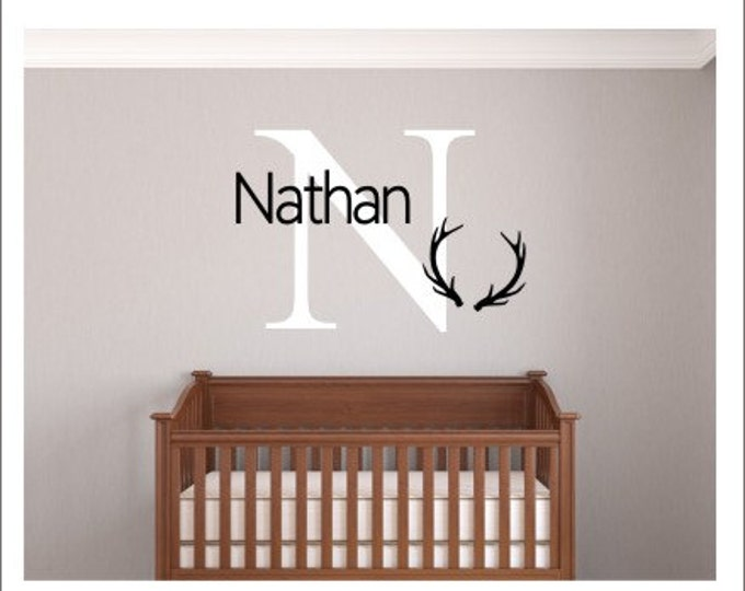 Antler Wall Decal Personalized Nursery Decal Hunting Wall Decal Boys Nursery Decal Baby Wall Decal Bedroom Wall Decal Wall Decals Antlers