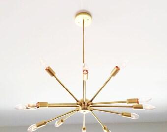 Twelve - Sputnik Modern Solid Brass light fixture hanging pendant chandelier lighting. The Twelve. Modern Minimalist style.