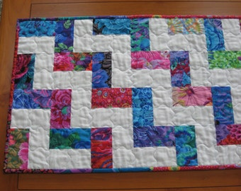 Quilted Table Runner, Contemporary Kaffe Fassett Brights, Stair Step #2