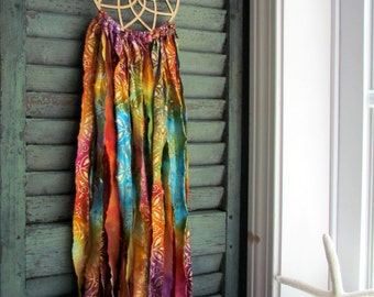 SALE! bohemian dream catcher -bali baby - vegan -bright and bold colors with gold - wingedwhimsy dreamcatcher - nursery decor - wedding