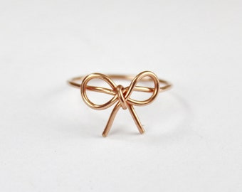 Rose Gold Bow Tie Ring, Love And Friendship Bow knot Ring, Friendship Ring, Forget Me Knot Bow Tie Jewelry