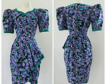 Floral, 1980s Garden Party Dress, 80s Wiggle Dress