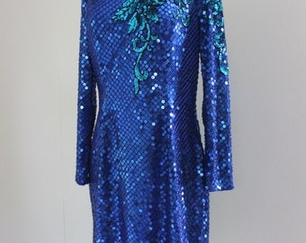 Womens, 1980s, Fully Sequined Party Dress, Blue Sequins, Gatsby, Trophy Wife Dress