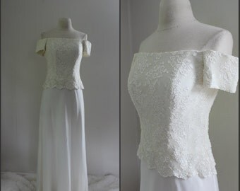 Vintage, Off the shoulder, lace top, off white wedding dress, size small