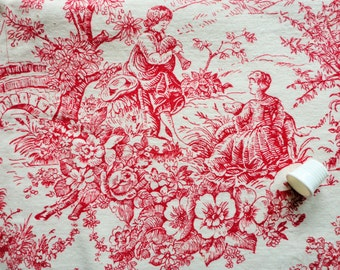 red on off white toile print vintage cotton fabric piece