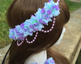 Pre-Order Sea foam Rose Pearl Band Goddess Flower Crown Headband blue and lavender purple