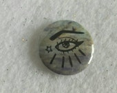 Hand drawn art eye pin - upcycled one inch bag flair - with eyebrow on fleek - artsy eclectic pinback button adornment