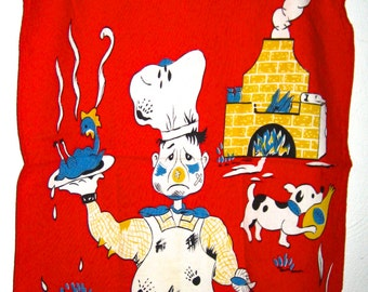 Vintage The Chef tea towel kitsch kitchen