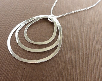 Organic Three Rings Sterling Silver Necklace