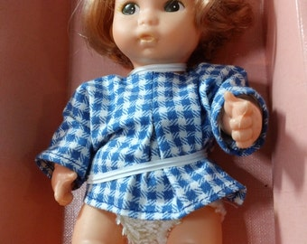 Vintage 70s Amanda Jane Baby UK toy Doll with Blue & White Gingham outfit in original - il_340x270.761416531_awde