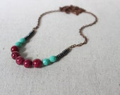 Statement Necklace, Colorblock Necklace, Stone Necklace, Long Layering Necklace