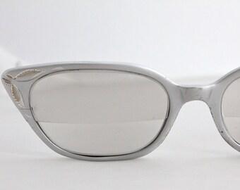 Vintage 50's All Aluminum Silver Engraved Cat Eyeglasses Frames