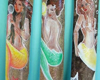 Single or Sets of Hand Painted Exotic Caribbean Fantasy Mermaid wall decor- bathroom decor