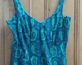 Swim Suit 60s Vtg Vintage Bathing Mod One Piece Floral 70s Top Up Pin Blue large Dolly TopsyEtsyUK