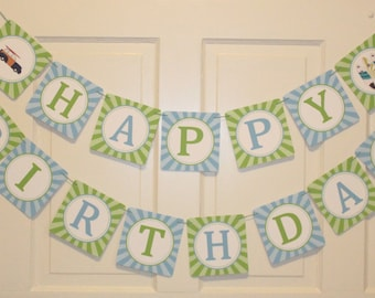 SURF'S UP Happy Birthday Party Banner Blue Green - Party Packs Available