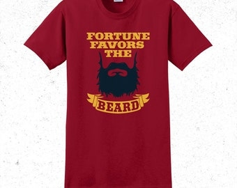 Beard t-shirt men's - Fortune favors the beard