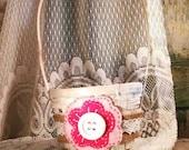 Light Pink and Fuchsia Flower Girl Basket, Felt Flower, Rustic Wedding, Shabby Chic by Green Orchid Design Studio