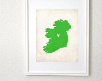 Ireland Personalized Country Map Art 8x10 Print. Custom Country Map. Heritage Map Art. Family Map. Irish Map Art.