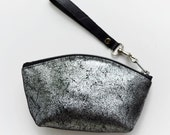 Wedding Evening Bag, Silver Metallic Leather Bag, Silver Evening Bag, Handmade Leathe Clutch, Wallet Fashion Wristlet, New Years