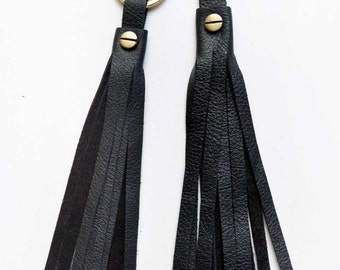 Black Tassle Keychain, Classic Leather Key Fob, Handmade Key Ring - Listing for ONE