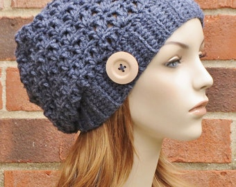 Crochet Hat Slouchy Beanie  - Charcoal Grey Slouchy Hat - Womens Accessories - Crochet Beanie with Button  // THE SAGE //