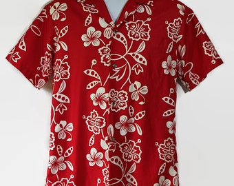 60s 70s Hawaiian Shirt / Andrade / Tiki / Luau / Tropical / Red