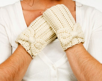 Ivory Bow Crochet Fingerless Gloves, Handmade Crocheted, Women's Warm Soft Winter Accessory, Knitted Texting Gloves, Knit Hand Warmers