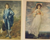Antique Prints Pair- Set of Two Vintage Lithographs- Romantic Couple- Man and Woman in Edwardian Dress