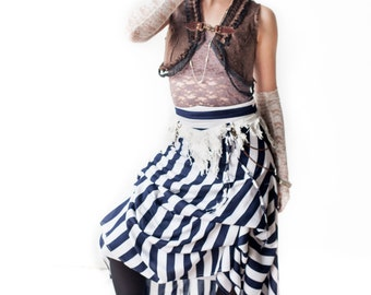 Striped Pirate Skirt with Adjustable Gathers