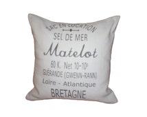 French Country  Vintage Linen Grain Sack Pillow - SEL DE MER