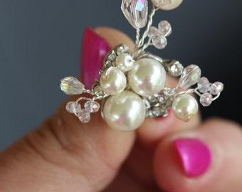 Bridal Pearl Cluster Earrings, Branch, spray Earrings, Vintage , Wedding jewelry, Flower Pearl , Swarovksi , Clip ons earrings, studds