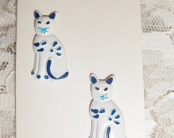 "JHB Button White & Blue Cats Hand Painted Vintage New 7/8"" tall x 1/2"" wide"