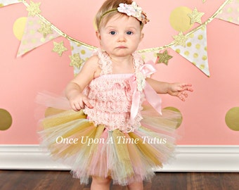 Pink Gold Mint Glitter Tutu - Little Girls Baby Size 3 6 9 12 18 24 Months 2T 3T 4T 5 6 7 8 10 12 Adult Teen ... 1st Birthday, Photo Prop