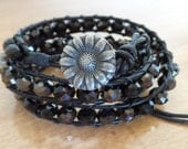 Leather and Crystal Bead Wrap Bracelet