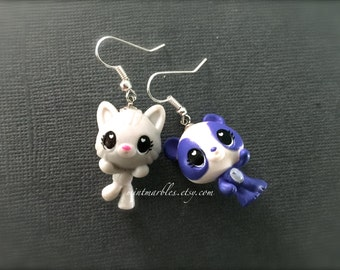Mismatched Gray Kitten and Purple Panda Bear Dangle Earrings. Kawaii Cute. Adorable. Whimsical. Silver Hooks. Drop Earrings. Under 15 Gifts.