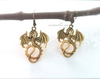 Antique Gold Dragon Dangle Earrings. Brass Dragons. Fire Breather. Antique Gold. Mystical. Magic. Fantasy. Under 20 Gifts.