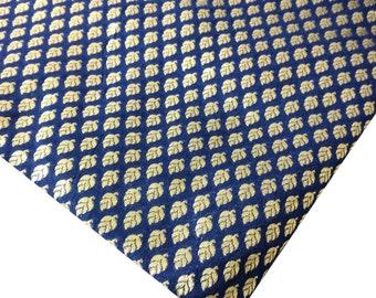 Navy and Gold Banaras Silk Fabric By Half Yard - Indian Silk Fabric