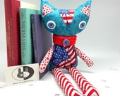 Patriotic stuffed Cat with red stars and blue eyes, plush Cat Toy blue red and white, soft cloth Kitty plushie nursery decor birthday gift