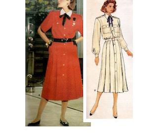 80s Guy Laroche Vogue Paris Original 1586 Sewing Pattern Business Dress Button Front Loose Fit Epaulets Long Sleeve Uncut FF Bust 34