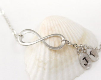 Silver Infinity bracelet, Personalized bracelet, Initial bracelet, friendship bracelet, Bridesmaid gift, christmas gift