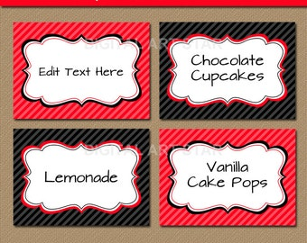 Editable Red Black Fancy Food Labels, Printable Buffet Cards, Tent Cards, Candy Buffet Labels, Food Tags - INSTANT Download - Graduation