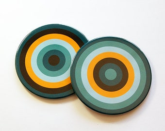 Drink Coasters, Coasters, Barware, Home Decor, Hostess Gift, Bright colors, Set of Coasters, Housewarming Gift, Teal, Blue, Yellow (5038c)